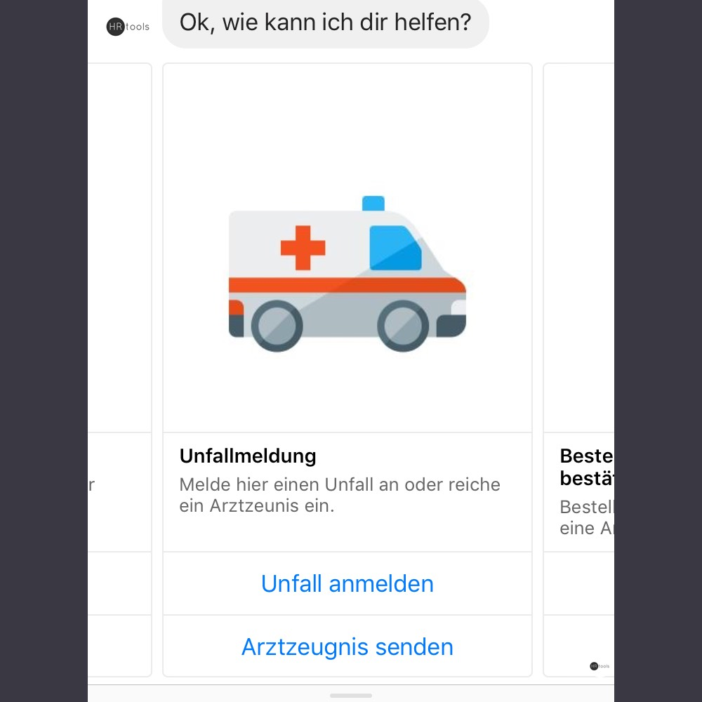 HRtools Screenshot Chatbot Unfall